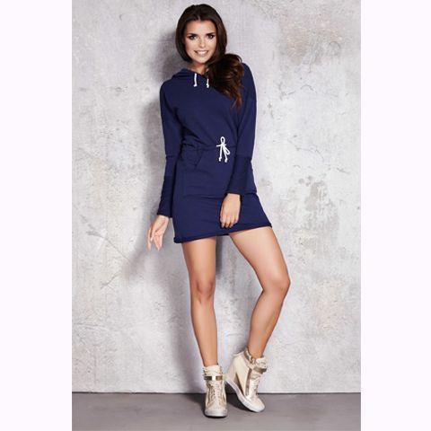 Rochie din bumbac bleumarin sport-casual,cu gluga si cu maneci lungi;prezinta siret in zona talieiu #rochiisport #rochiicasual