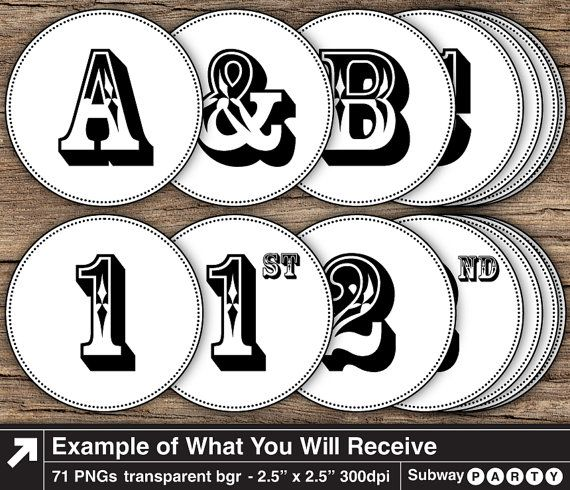 Printable Black Letters and Numbers in 2.5 inch White Round Frames with Black Borders for Party Banner or Cupcake Toppers. Printable PDF file and PNG files with transparent background for digital clipart are included. (see image #2 & image #3) Add these printable letters to any printed banners (with glue/ stapler) or add them on your computer (using PNG clipart files) to digital banners before printing (familiarity with some simple image editing software needed). CHARACTERS INCLUDED ...