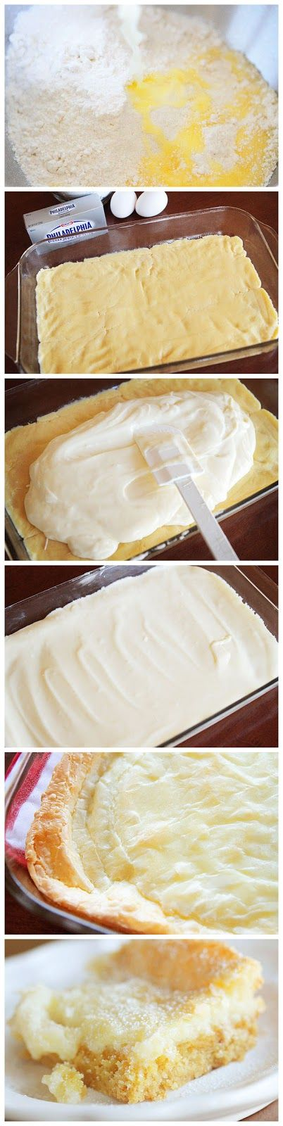 Chess Squares Mix yellow cake mix with 1 egg and1/2 cup melted butter to make soft dough.  Press into greased bottom of 9x13 pan.  Mix 4 cups 10x sugar with cream cheese, 1 tsp. vanilla & 2 eggs, pour over crust.  Bake 325 degree oven for 40-50 mins,
