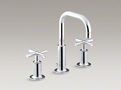 Kohler Purist® - Widespread bathroom sink faucet with low cross handles and low gooseneck spout, #K-14406-3-CP