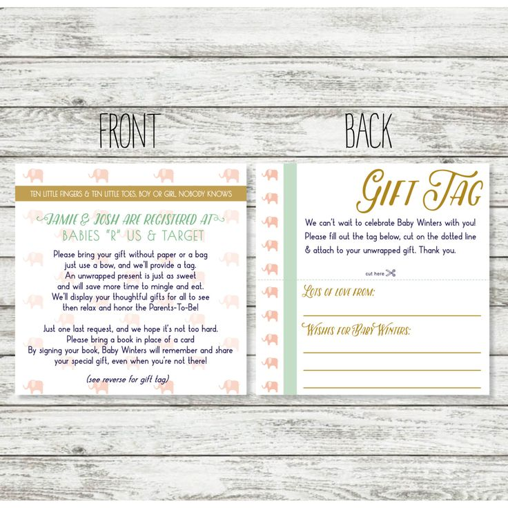 Baby Gift Wording : Baby shower registry card wording for unwrapped gift