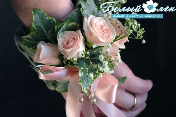 Свадебный браслет из живых цветов — студия «Белый Лён»