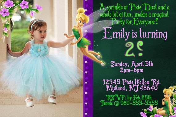 Tinkerbell Photo Invitation Tinkerbell by KidzPartyPrintables