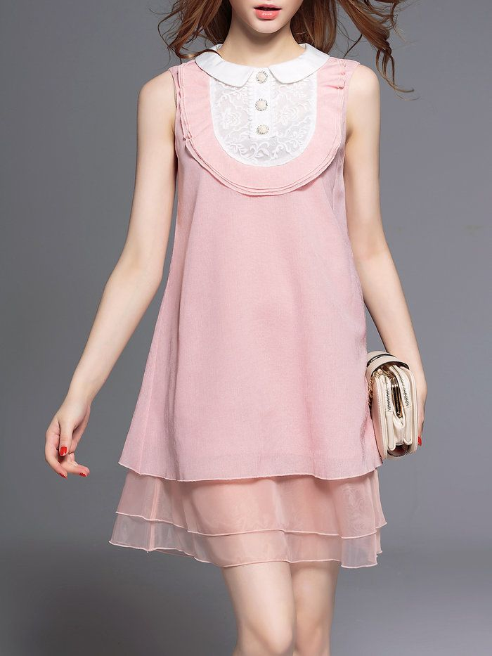 Pink Crew Neck A-line Sweet Mini Dress