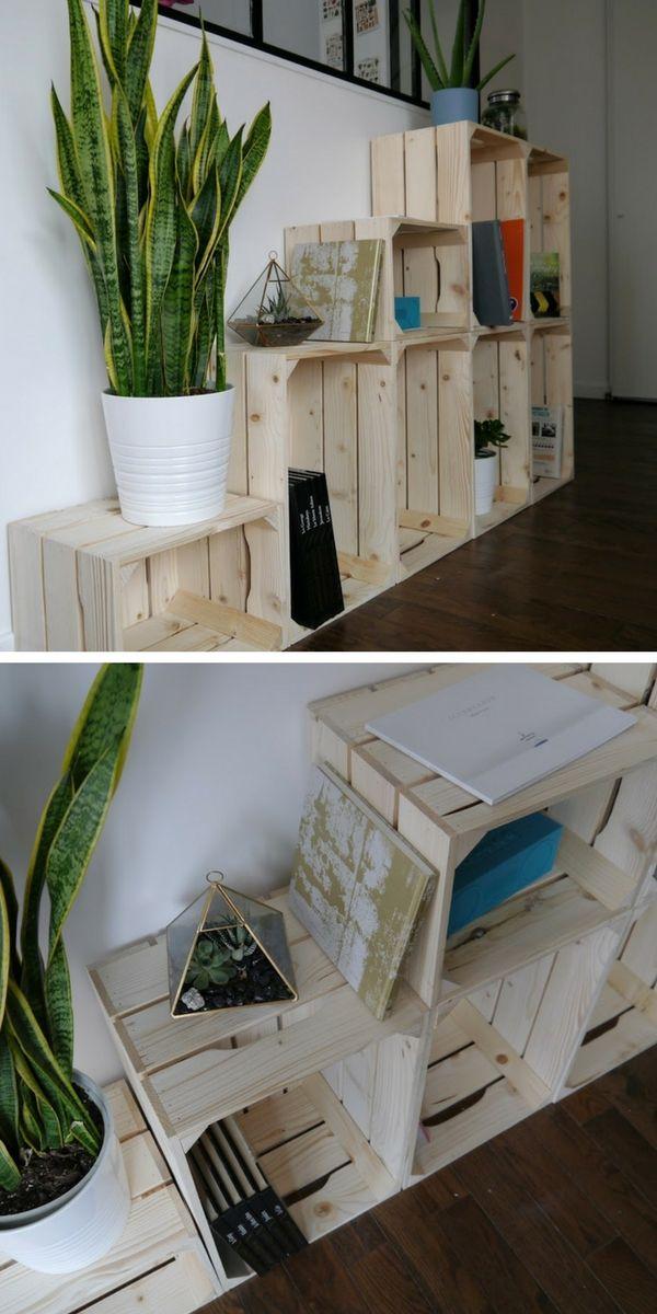 Comment Utiliser Des Caisses En Bois Pour Fabriquer Un Rangement Decoratif Modulable Dans L Entree Caisse Bois Deco Caisse En Bois Rangement Decoratif