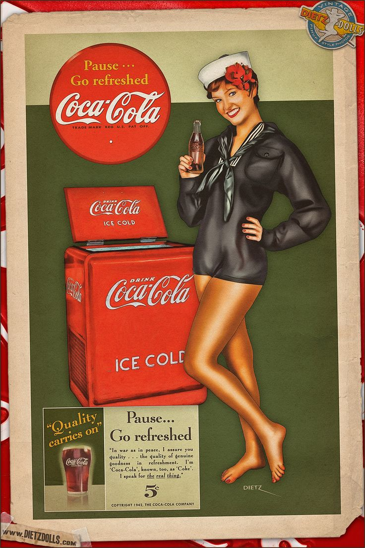 Today's airbrushed style pinup photo features Anna and the simplistic style Coca Cola advertisements! This retro advertisement is part of the ongoing Coca Cola original ad recreations. The colors, fonts, language, and graphics of these have been very carefully researched and recreated to match the original style of the advertisements. © Dietz Dolls: http://www.dietzdolls.com || Facebook: https://www.facebook.com/MomentsCapture