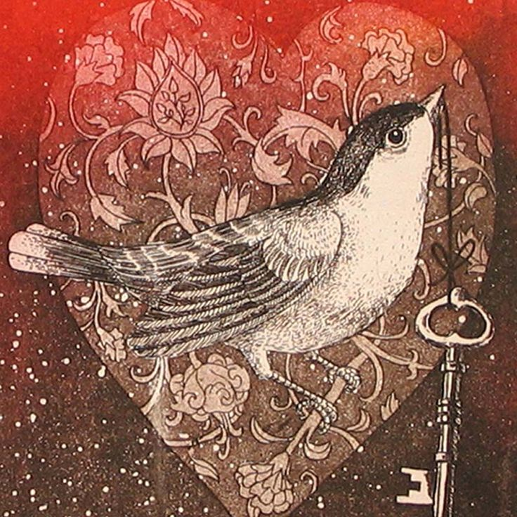 Marina Terauds Ex Libris Bird Heart-We own this one and several more of her works.  She is an extraordinary lithographer.