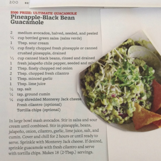 Pineapple-Black Bean Guacamole - just cut this out of the Better Homes ...