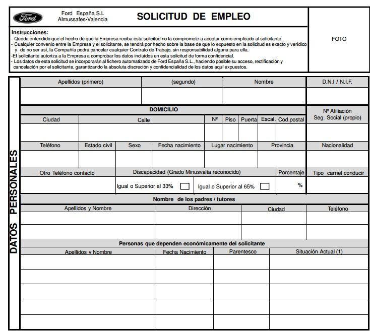 solicitud de empleo con Ford España- Valencia Interesante