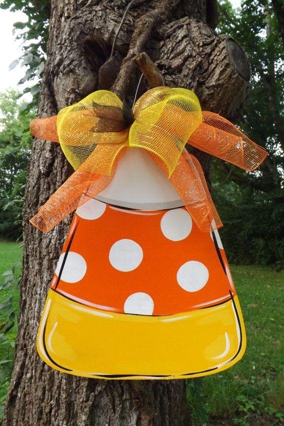 Scarecrow door hanger fall door hanger by BluePickleDesigns