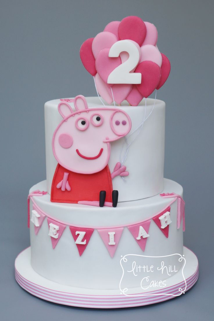 Peppy Pig Pink & White 2nd Birthday Cake