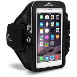 """Armpocket Mega i-40 armband for iPhone 6s/6 Plus, Galaxy S7, Note 5 or other phones and cases up to 6.5"""" - Black, Large Strap. Memory foam padding, for guaranteed comfort. The memory foam construction allows the armband to mold to the shape of your arm; the foam expands as it warms to secure the device in place. Weather proof and sweat proof. Interior storage compartments for ID, keys and more. Strategically placed audio access ports. Constructed of durable, sustainable Eco-friendly..."""
