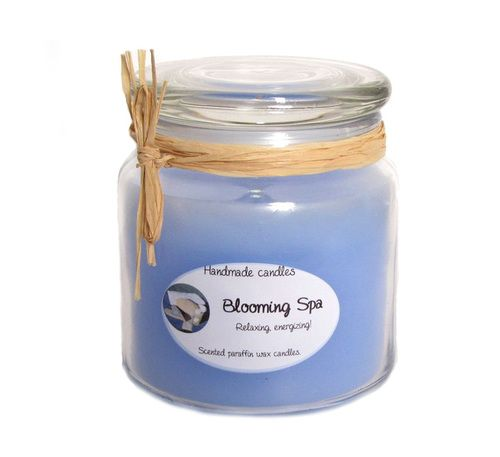#Gift : #Scented #paraffin #candle with a ligth blue color. It has a positive #refreshing and #bloomy medium strong  scent. The size of the jar is: H 11 cm  D 10cm, 650 ml. - $15.99