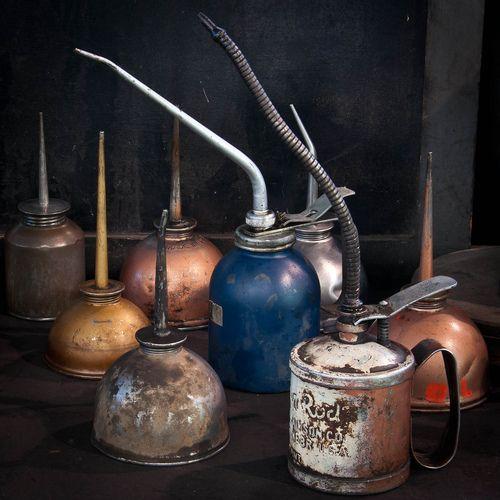 Vintage oil can pourers