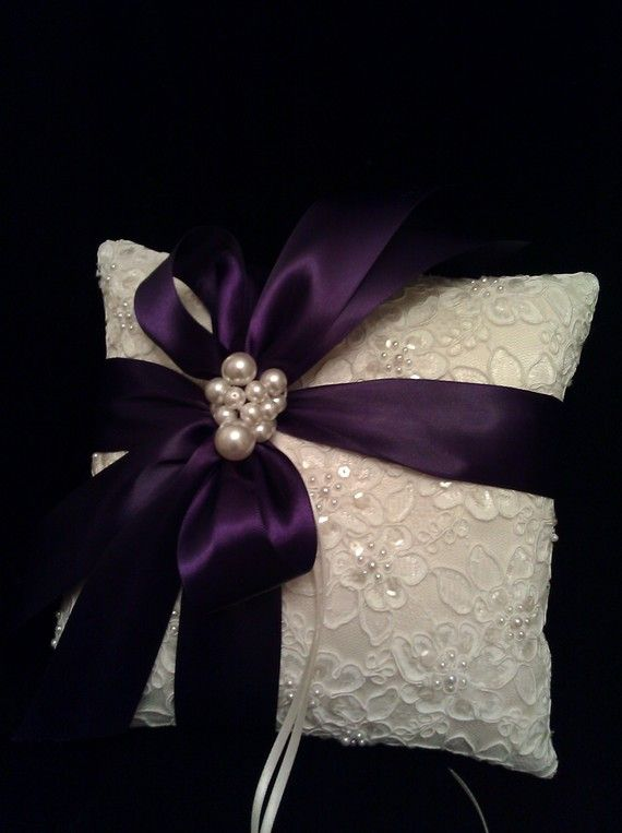 Ivory Alencon Lace Ring Bearer with Purple Ribbon by simplybridal1, $65.00