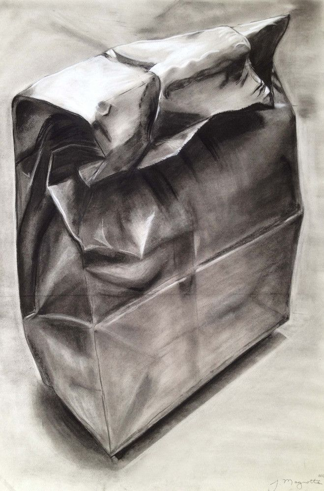 """By Jack Magnotti ''Paper Bag''  Charcoal on newsprint. 24"""" x 36"""""""