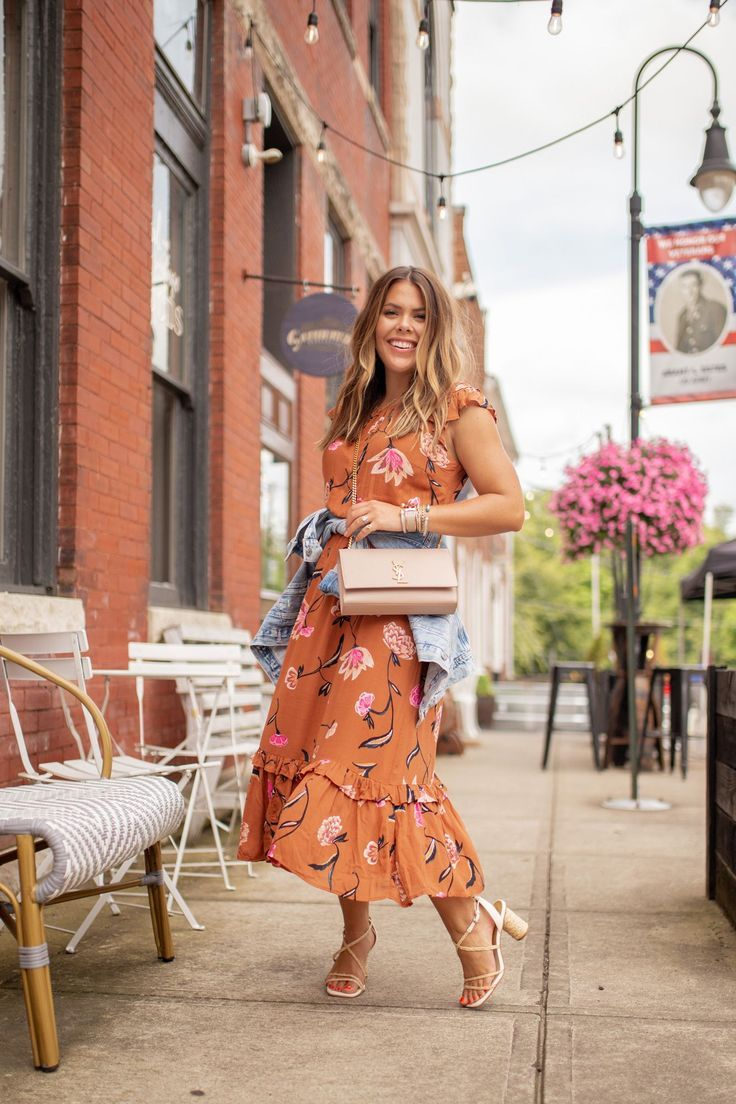 My Fall Color Crush Meets A Floral Midi Dress Glitter Gingham Floral Midi Dress September Outfits Target Style [ 1104 x 736 Pixel ]