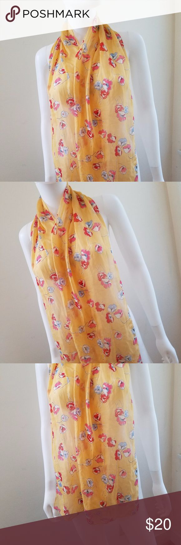 "Women's Yellow Multi color Floral long Scarf Versatile Scarf with pretty flower print. Style this scarf any way you like for a fashionista style.  100% polyester. About 62"" long and 13"" wide. Accessories Scarves & Wraps"