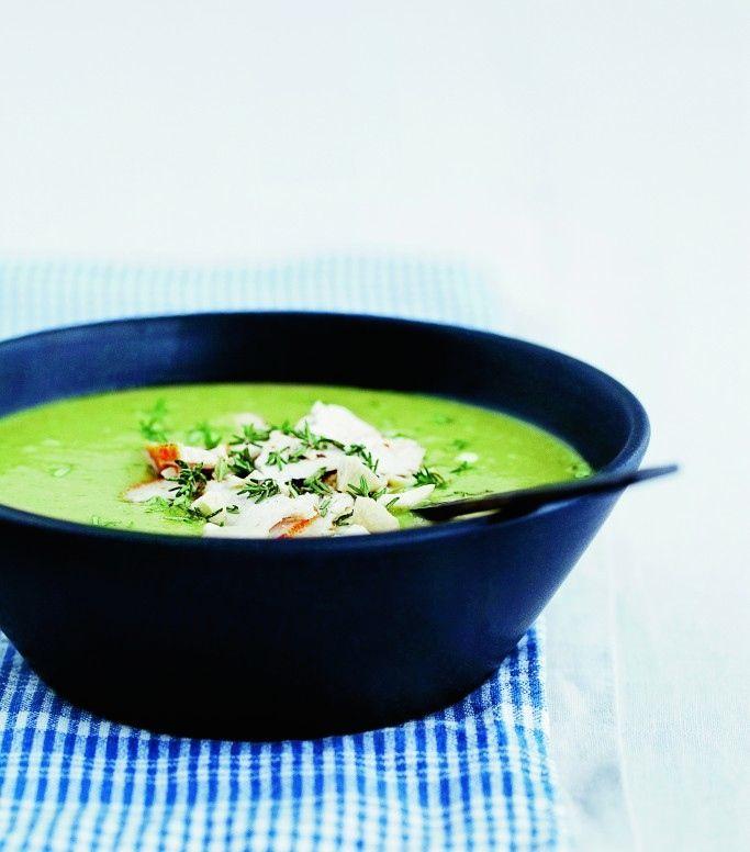 Lækker broccolisuppe med cashewnødder og kylling