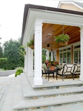 Covered porch - love the wood ceiling