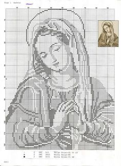 virgin mary, virgin of guadeloupe, cross stitch, filet crochet