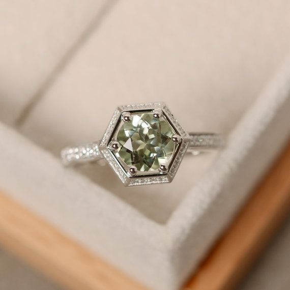 Green amethyst engagement ring sterling silver pale by LuoJewelry