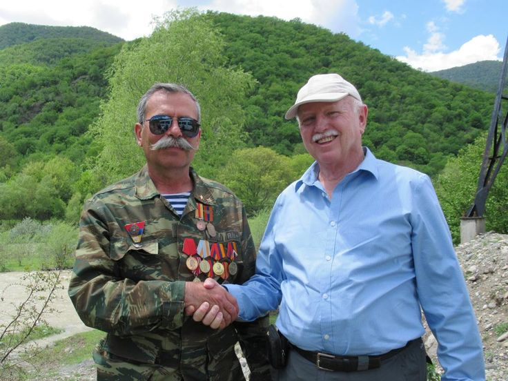 David Stanley with a highly decorated defender of the Republic of Nagorno Karabakh.