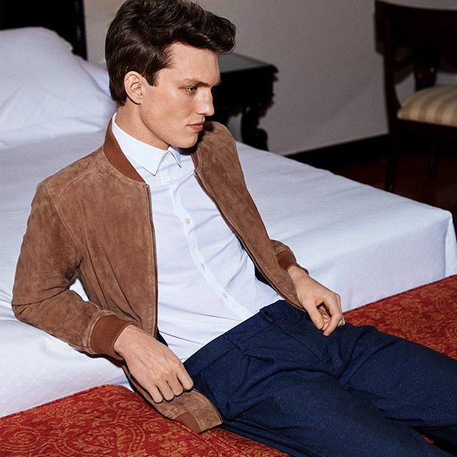 Update your formal look with a cool suede bomber jacket, for a modern dandy look | JACK & JONES