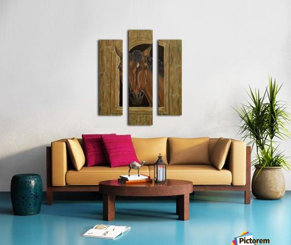 brown, living room decor, art, painting, in panels, horse