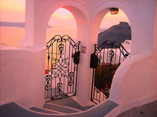 Santorini, Greece: Santorini Greece, Sunsets, The View, Inspiration Pictures, Pink, Places, Irons Gates, Wrought Irons, Dreams Destinations