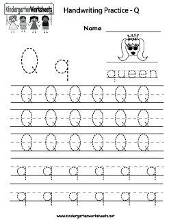 Letter Q Writing Practice Worksheet