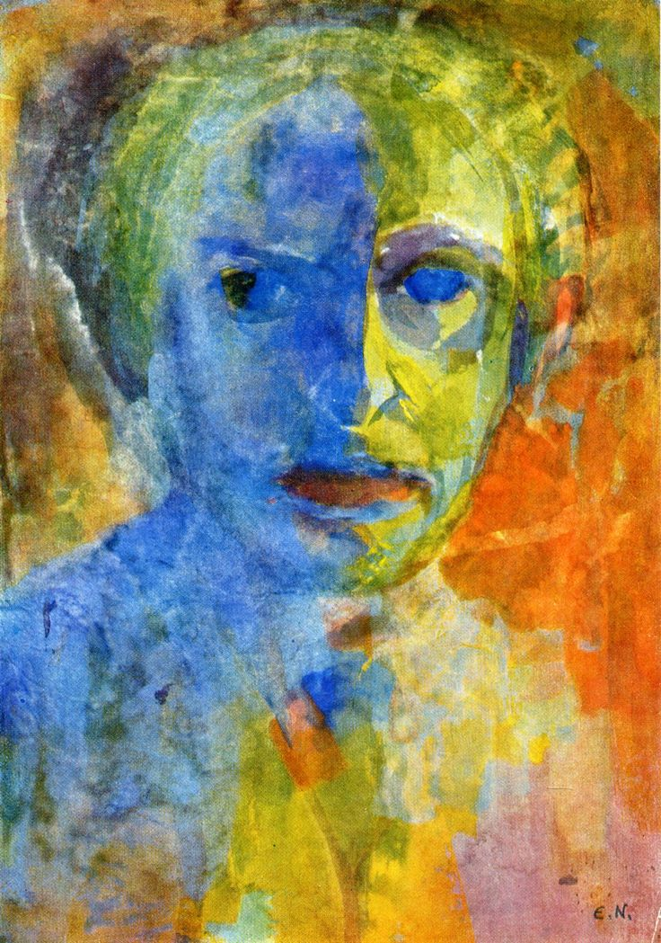 "Emil Nolde - Self-portrait, 1912  	""There is silver blue, sky blue and thunder blue. Every colour holds within it a soul, which makes me happy or repels me, and which acts as a stimulus. To a person who has no art in him, colours are colours, tones tones...and that is all. All their consequences for the human spirit, which range between heaven to hell, just go unnoticed."" - Emil Nolde	  http://www.wikiart.org/en/emil-nolde"