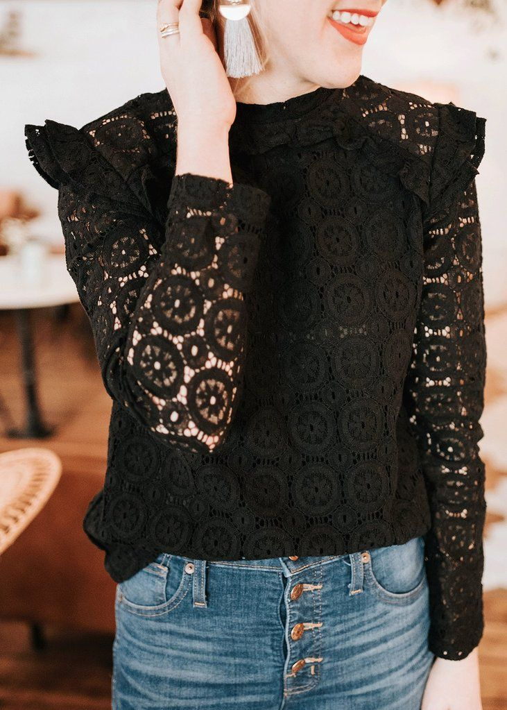 BB Black Lace Ruffle Shirt