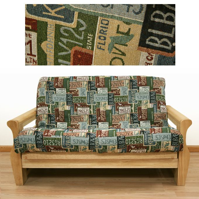 road trip futon cover  depicts collection of us license plates  15 best printed futon covers images on pinterest   futon covers      rh   pinterest