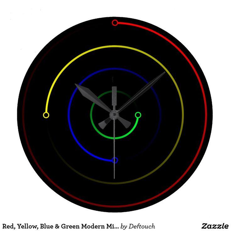 Red, Yellow, Blue & Green Modern Minimalist Clock #clock #minimalist #modern #colors #unique #cool #wallart