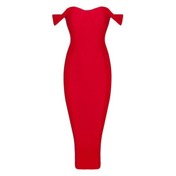 Bandage Silk Midi Dress (£66) ❤ liked on Polyvore featuring dresses, calf length dresses, red dress, red midi dress, mid calf dresses and midi dress