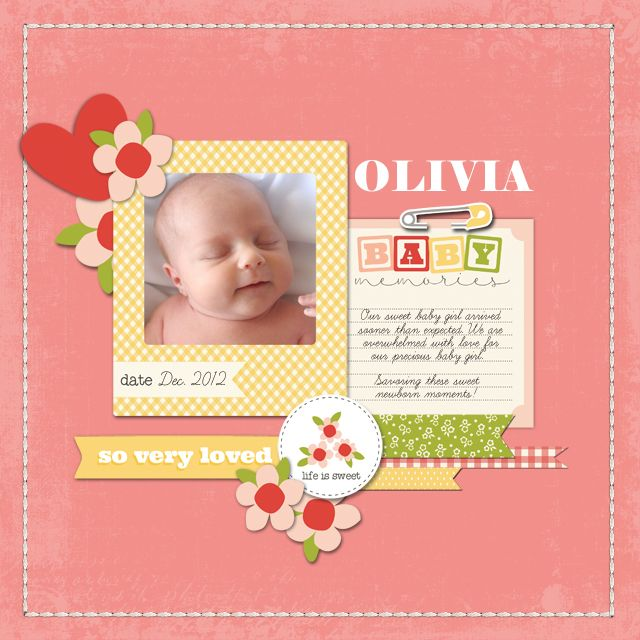 Digital layout by Candice Meyer featuring the It's A Girl collection from Carta Bella, available at Snap Click Supply here: http://www.snapclicksupply.com/its-a-girl-full-collection/ #digitalscrapbooking