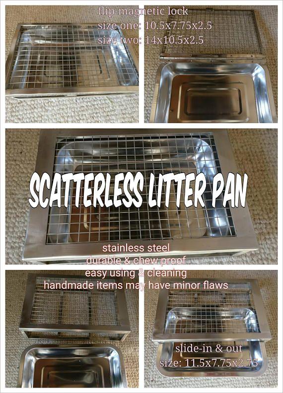 Stainless Steel Scatterless Sliding Tray Litter Pan Small Pets Etsy Litter Pan Small Pets Stainless Steel