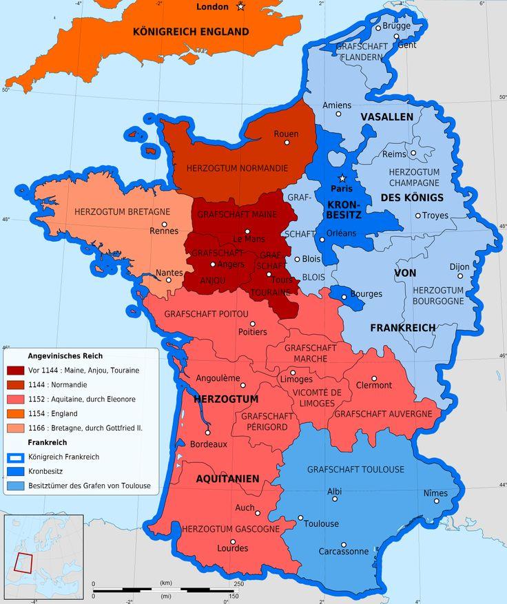 Das Gebiet des Königshauses Anjou von England in Frankreich - während des Hundertjährigen Krieges