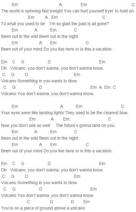 U2 - Volcano Chords : U2 : Pinterest : Volcanoes