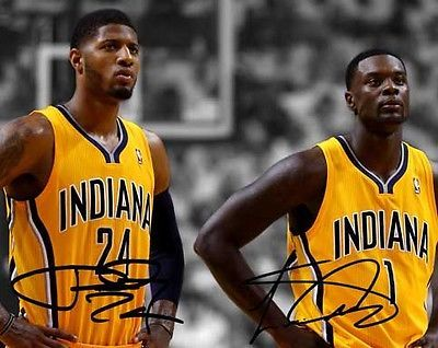 Paul George Lance Stephenson Indiana Pacers Signed 8x10