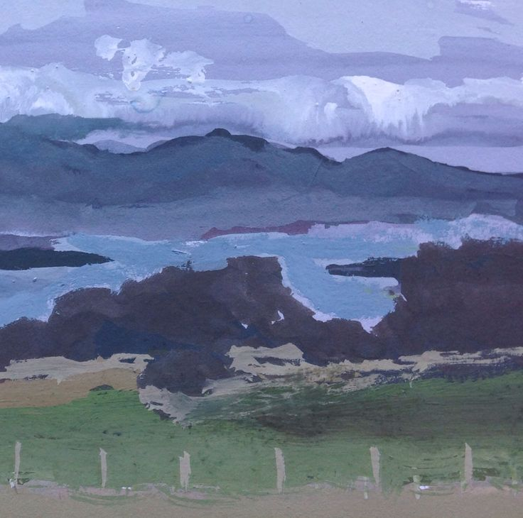 High tide shallow inlet - gouache on paper