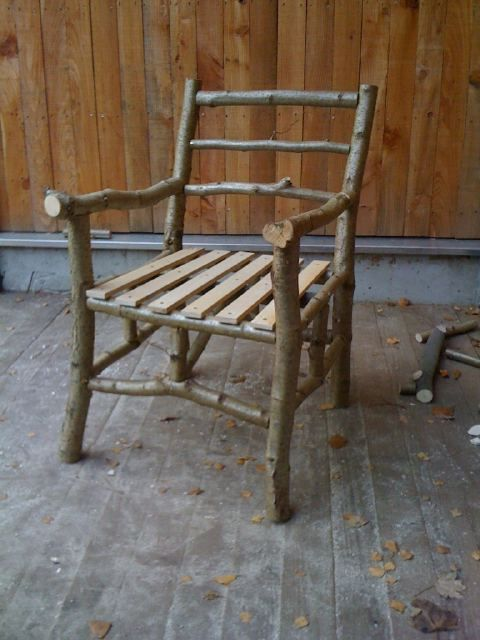 Rustic chair I made this weekend. Green coppiced hazel and seasoned ash slats. Chuffed.