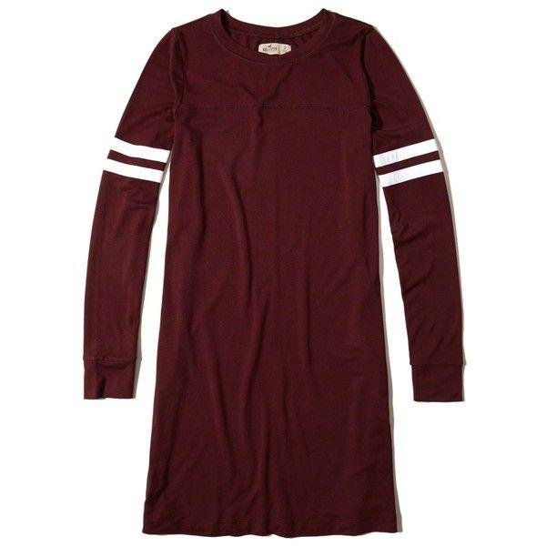 Long-Sleeve T-Shirt Dress ❤ liked on Polyvore featuring dresses, long sleeve dress, red knit dress, red t shirt dress, striped knit dress and long sleeve striped dress