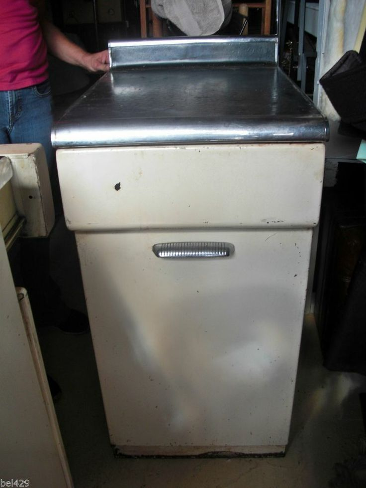 VINTAGE METAL KITCHEN CABINETS (a pair) by Murray