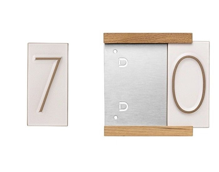 From Heath Ceramics, Neutra Tile House Numbers (left) in architect Richard Neutra's elegant mid-century font measure 6 inches high by 3 inches wide