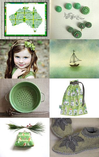 A gorgeous green treasury by GreyLittleMouse on Etsy