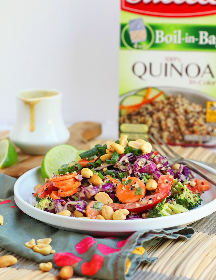 You don�t have to be vegan to love this salad. It�s packed with so much flavor! It�s the perfect side to any BBQ, and because of the protein-packed quinoa, it can be your hero weekday lunch as well! AD