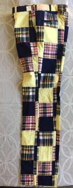 Patchwork pants India Madras Mens Golf Jacobsons plaid Yellow Blue NEW 36  vtg #indiamadras #CasualPantsGolf