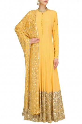 Anushka Khanna Mango Yellow Embellished Anarkali Set #happyshopping #shopnow #ppus